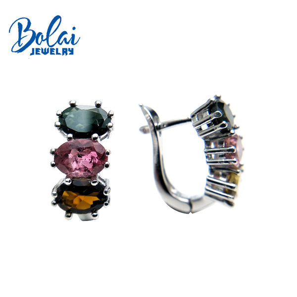Bolaijewelry,natural multicolor tourmaline oval 5*7mm gemstone clasp earring 925 sterling silver fine jewelry women gift box