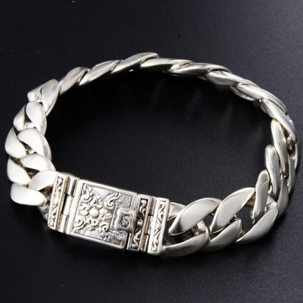 Real 925 solid silver retro minimalist stylish latch clasp totem men's Thai silver bracelet