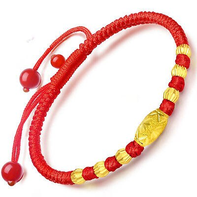 New Pure 999 24K Yellow Gold Women Carved Bead Knitted Link Bracelet Small Size
