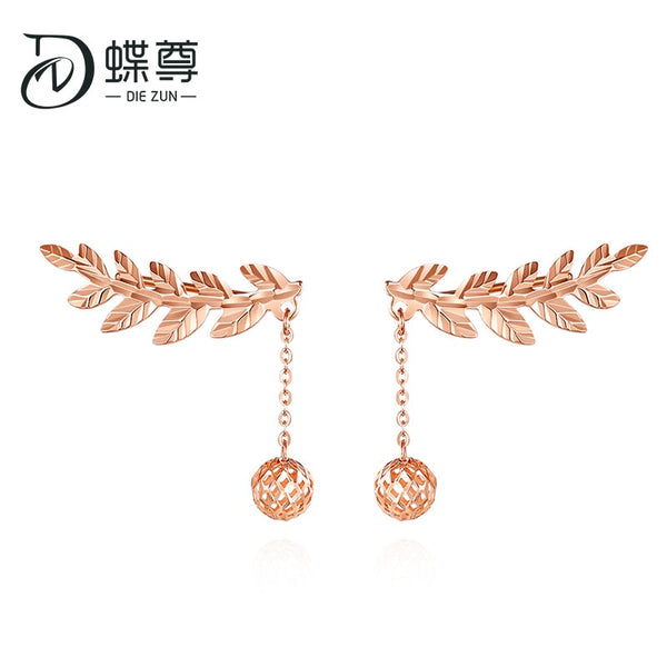 18-karat gold earrings colour rose gold studs au750 purple and gold transshipment pearl prongs row female colour earrings ball