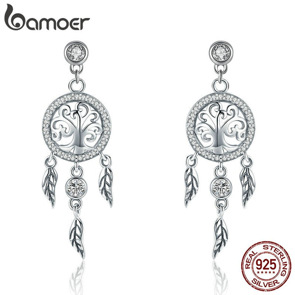 BAMOER Fashion 925 Sterling Silver Tree of Life Dream Catcher Drop Earrings for Women Vintage Sterling Silver Jewelry SCE457