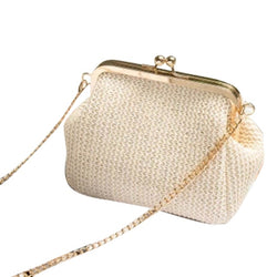 LJL-Small Crossbody Boho Bags For Women Evening Clutch Bags Hasp Ladies Handbag Female Straw Beach Rattan Women Messenger Bag