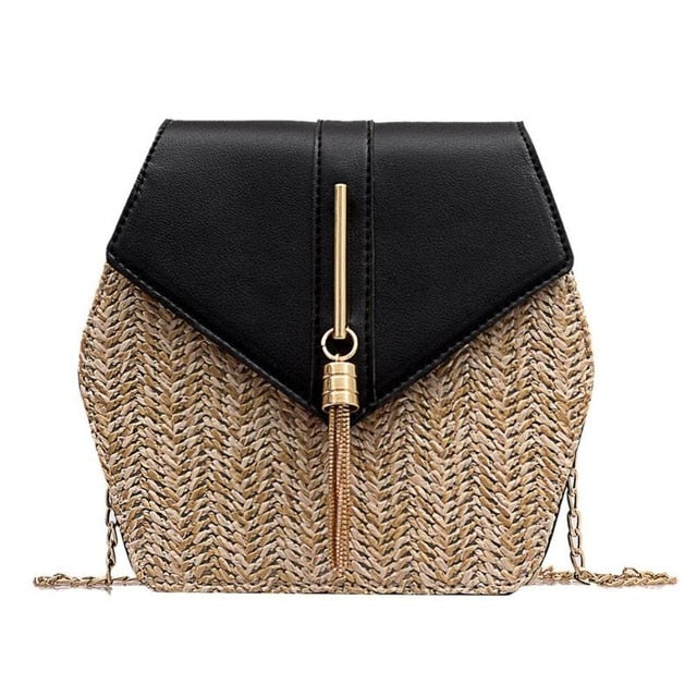 Hexagon Style Straw Shoulder Bag Women Summer Rattan Bag Handmade Woven Beach Bohemia bolsa feminina Fashion chain Crossbody bag