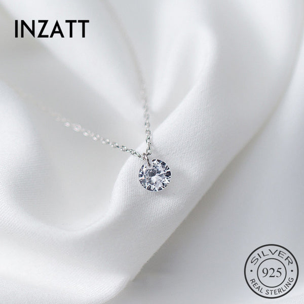 INZATT  OL Cute Geometric Round Choker Pendant Necklace For Women Engagement  Rose Gold Color 925 Sterling Silver Jewelry Gift