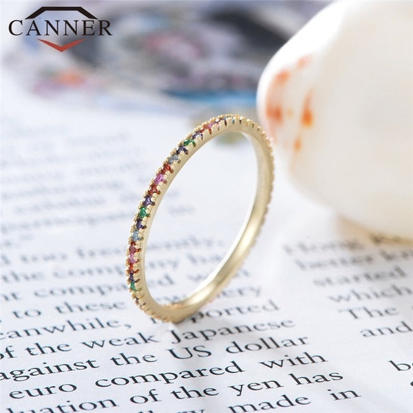 Simple Trendy Rainbow Zircon 925 Sterling Silver Rings for Women Multicolor Mini Single Row Drill Rings Fashion Jewelry