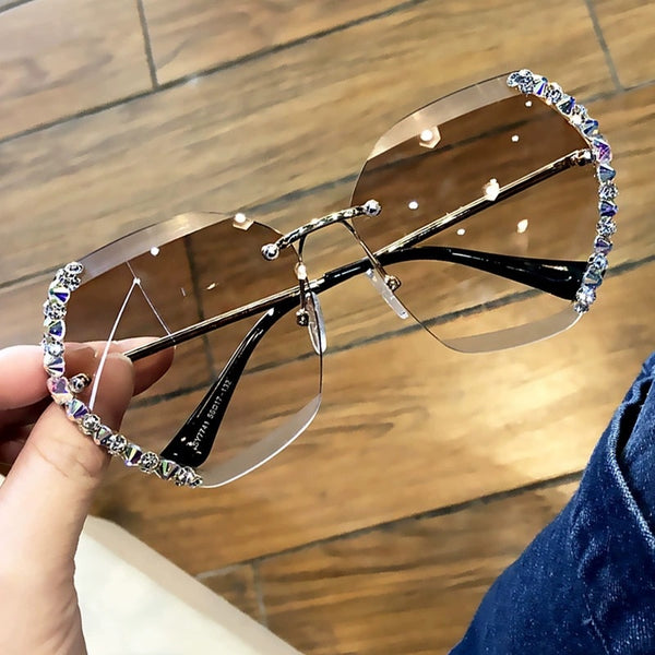2020 Vintage Fashion Oversized Rimless Sunglasses Women Luxury Brand Design Sexy Diamond Square Sunglasses For Female wholesale