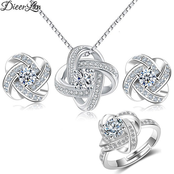 DIEERLAN 2019 Bridal Jewelry Sets 925 Sterling Silver Crystal Cross Clover Flower Necklaces for Women Wedding Jewelry Bijoux