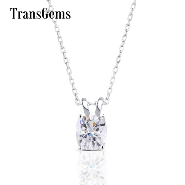 Transgems 14K 585 White Gold Center 2CT 7X8mm GH Color Cushion Cut Moissanite Pendant Slide for Women