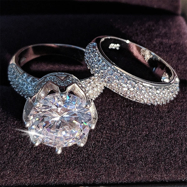 luxury 11mm big zircon original 925 sterling silver wedding ring set for women bride engagement Jewelry Band eternity gift R4843