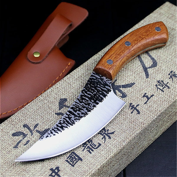 24.5cm hand forged by chef Tang, sliced kitchen knife, high carbon steel outdoor knife, butcher's knife + Leather Case