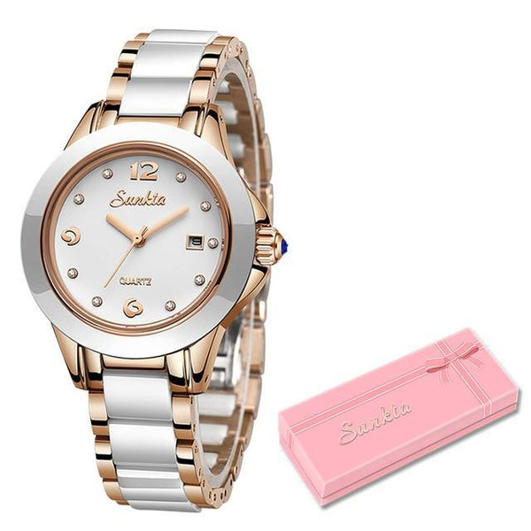 SUNKTA Fashion Women Watches Rose Gold Ladies Bracelet Watches Reloj Mujer 2020New Creative Waterproof Quartz Watches For Women