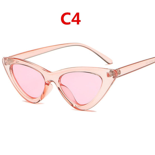 2020 fashion sunglasses woman brand Designer vintage retro triangular cat eye glasses oculos De Sol Transparent ocean uv400