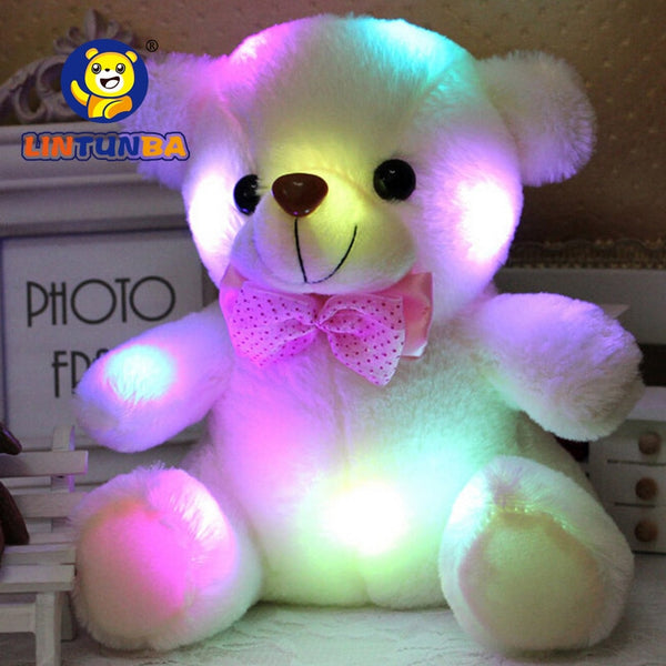 BSTAOFY Dropshipping 20CM LED Colorful Glowing Luminous Plush Baby Toys Lighting Stuffed Bear Teddy Bear Lovely Gifts for Kids