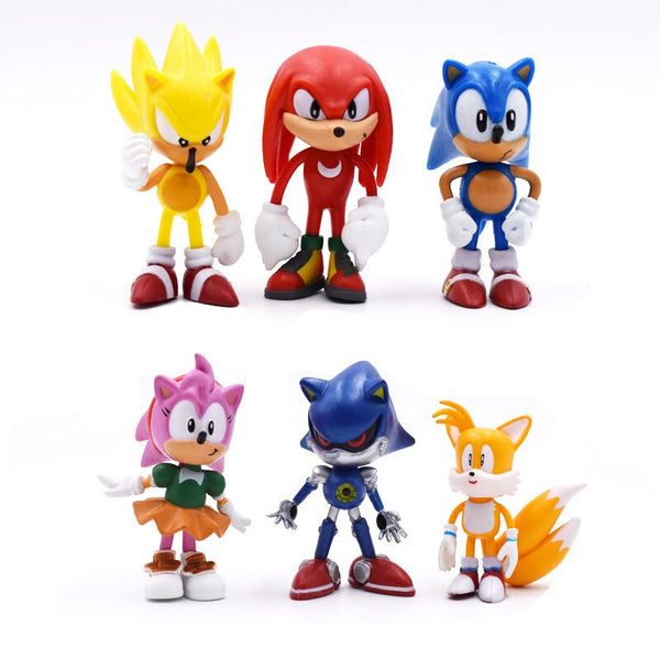 New 6Pcs/Set 7cm Sonic Figures Toy Pvc Toy Shadow Tails Characters Figure Toys For Children Animals Toys Set Free Shipping
