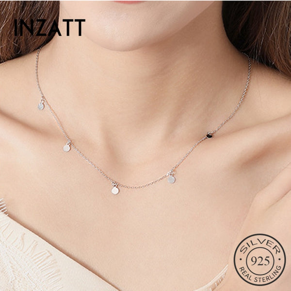 INZATT Real 925 Sterling Silver Geometric Round Choker Necklace For Fashion Women Minimalist Fine Jewelry Cute Accessories 2020