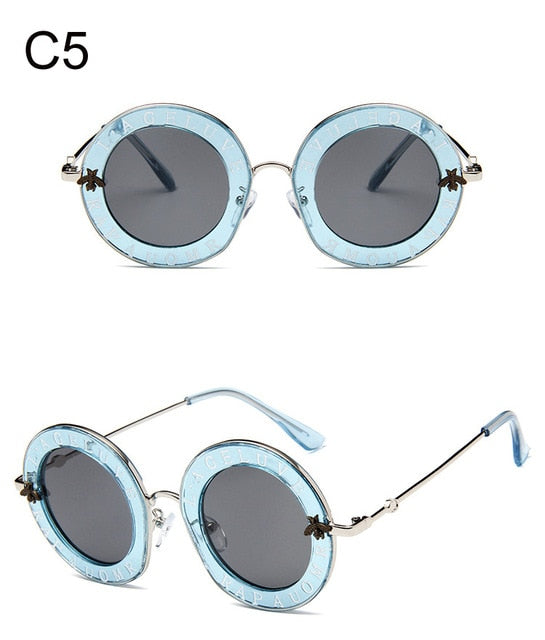 Retro Round Sunglasses Women 2020 Luxury Brand Designer Bee Metal Frame Circle Sun Glasses Fashion Female Clear Shades Oculos