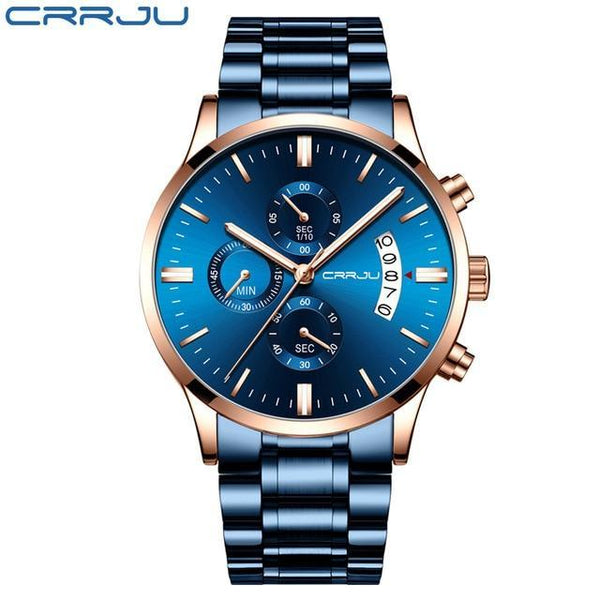 Mens Watch CRRJU Stainless Steel Fashion WristWatch for Men Top Brand Luxury waterproof Date Quartz watches relogio masculino