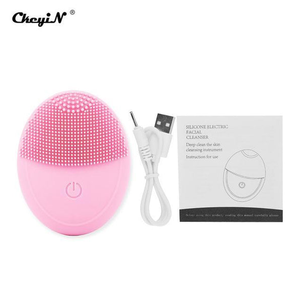 Mini Facial Cleaning Brush USB Rechargeable Electric Face Cleaner Portable Deep Cleansing Massager Waterproof Beauty Device 45