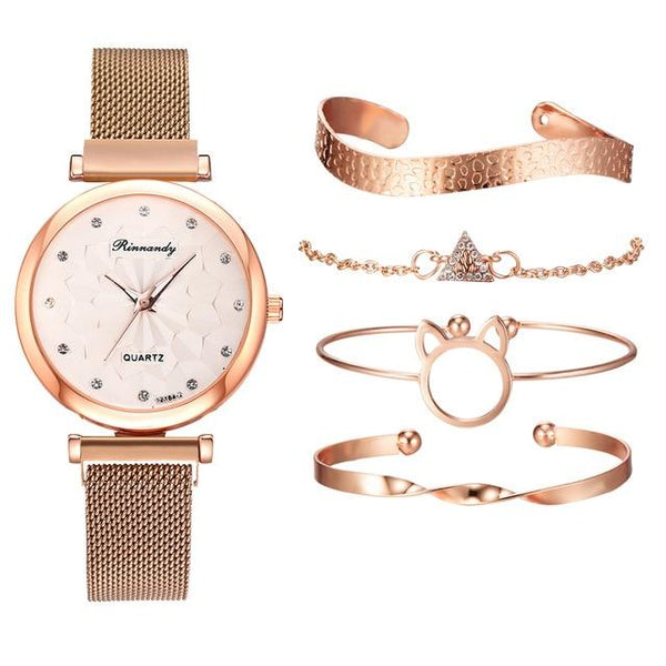5PCS Watch Set Luxury Brand Women Dress Quartz Clock Bracelet & Bangle Ladies Sports Wrist Watch Clock Gift Relogio Feminino