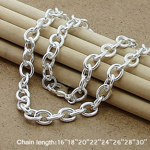 Classic Basic Thick Lobster Clasp Men Necklace 925 Silver Chain Link Necklace Male Women Jewelry