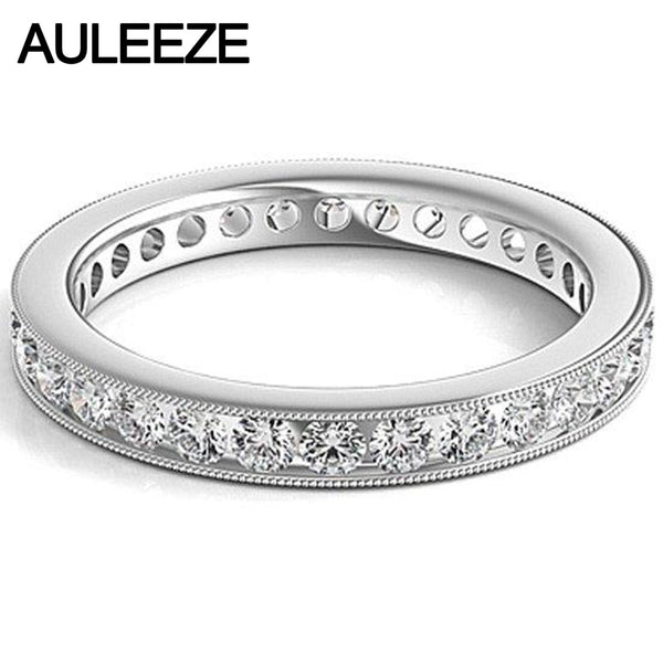 Channel Setting Round Brilliant Cut Diamond Eternity Wedding Bands Solid 14K White Gold Milgrain Edge Engagement Rings For Women