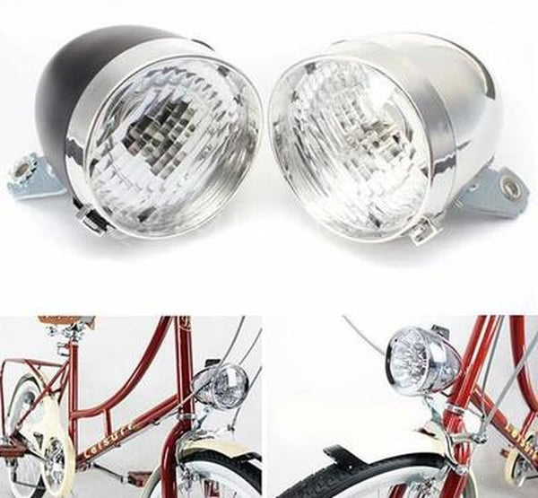 1PC Retro 3 LED MTB Bicycle Light Waterproof Bike Head Light Front Lamp Road Flashlight Bracket Mountain Cycling Accessories