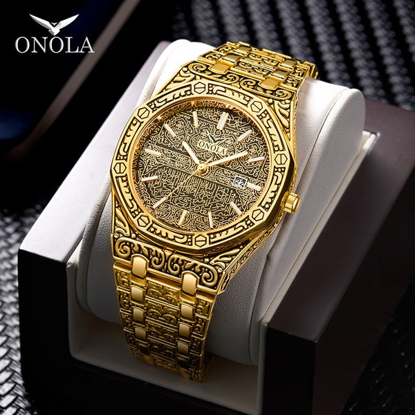 fashion watch men Brand ONOLA 2020 new luxury classic designer stainless steel band gold watches for men reloj hombre