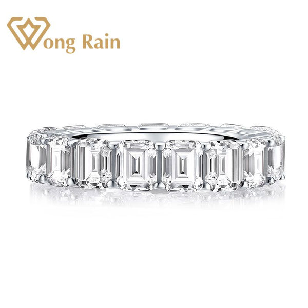 Wong Rain 925 Sterling Silver Emerald Cut Created Moissanite Gemstone Diamonds Wedding Engagement Ring Fine Jewelry Wholesale