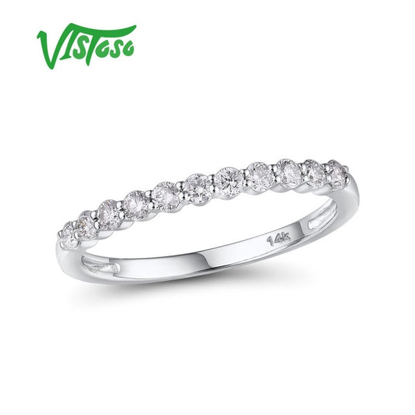 VISTOSO Gold Rings For Women Genuine 14K 585 White Gold Ring Sparkling Diamond Promise Engagement Rings Anniversary Fine Jewelry