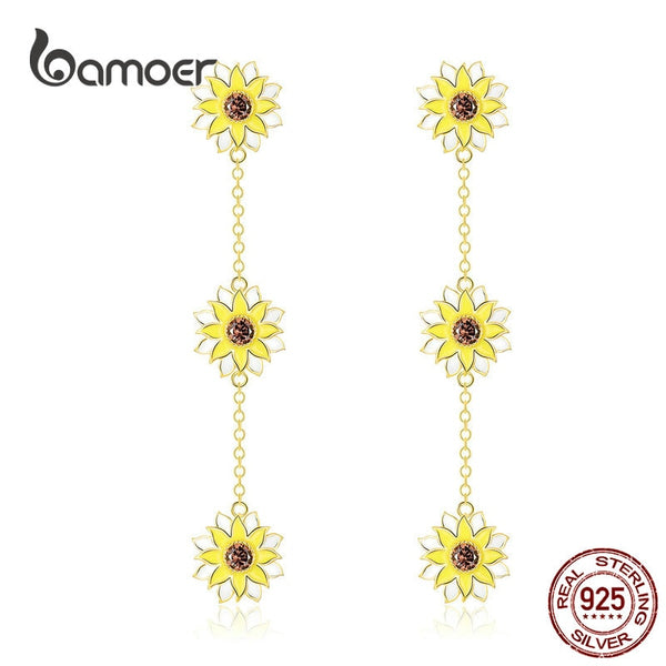 bamoer Sunflower Enamel Drop Earrings for Women Solid 925 Silver Chain with Flower Hanging Earring Female Brincos BSE187