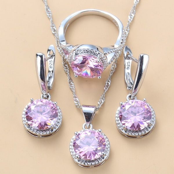 10-Colors 925 Silver Bridal Jewelry Sets Sweet Princess Round Pink Zircon 3 Piece Set Fashion Jewelry Womens Accessories