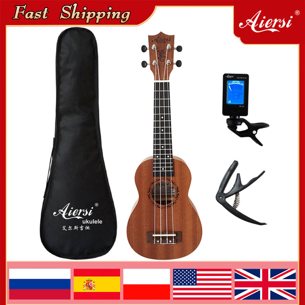 Aiersi brand 21 23 Inch student hawaii gecko ukelele factory price mahogany Soprano guitar concert top solid Ukulele