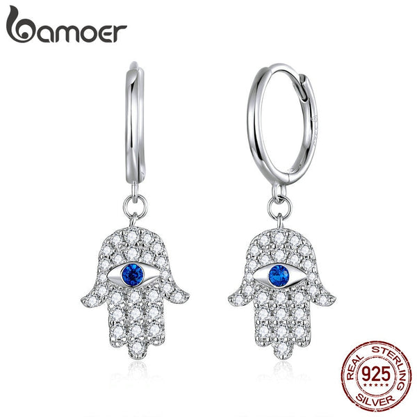 bamoer Genuine 925 Sterling Silver Fatima Hand Pendant Dangle Drop Earrings for Women Wedding Statement Jewelry Gifts BSE384