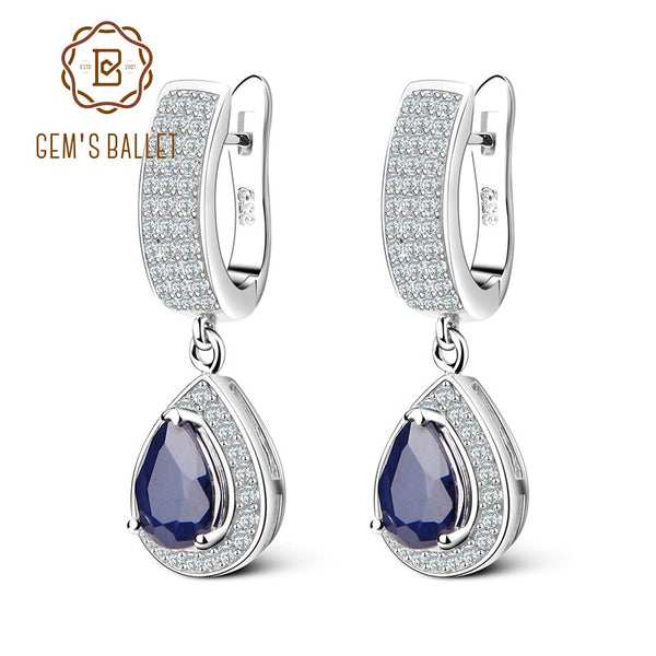 Gem's Ballet 1.29Ct Natural Blue Sapphire Gemstone Drop Earrings Real 925 Sterling Silver Vintage Earring For Women Fine Jewelry