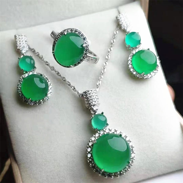Jadery Luxury Rose Gold 925 Sterling Silver Jewelry Sets Natural Chalcedony Jade Necklace/Earrings/Ring Women Jewelry 328 Deals