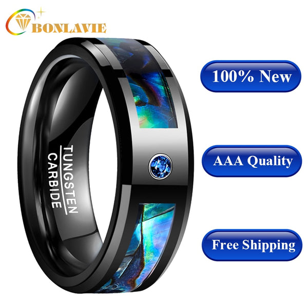 Men Women Wedding Band Ring Black Tungsten Abalone Shell Tungsten Steel Ring with Blue CZ Stone Finger Jewelry AAA Quality