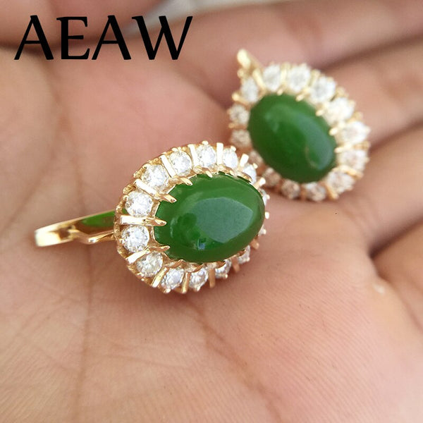 AEAW 9x13mm Oval Emerald side stones 3.5mm White Moissanite of Earring in 14K yellow gold