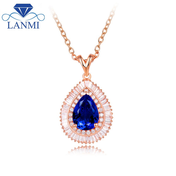 Real Solid 18K Rose Gold Loving Natural Tanzanite Wedding Pendant Necklace Baguette Diamond for Women Engagement Jewelry Gift