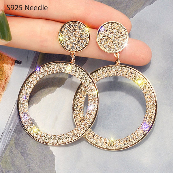 Real Pure 925 Sterling Silver Needle Long Dangle Earrings for Women Jewelry Round Rhinestone Female Drop Earrings Bijoux