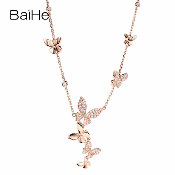 BAIHE Solid 18K Rose Gold H/SI 0.27ct Natural Diamonds Women Fine Jewelry Wedding Gift Engagement Gift Trendy Diamond Necklaces