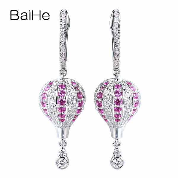 BAIHE Solid 14K White Gold 0.34ct H/SI-SI3 Round Natural Diamonds Trendy Fine Jewelry hot air balloon Stud Earrings For Women