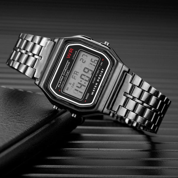 Simple Retro All Metal Electronic Watch  Stylish Hot Style Neutral Steel Band Led Watch for Men and Women Watch