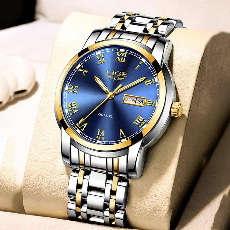 LIGE Watch Men Fashion Sports Quartz Full Steel Gold Business Mens Watches Top Brand Luxury Waterproof Watch Relogio Masculino