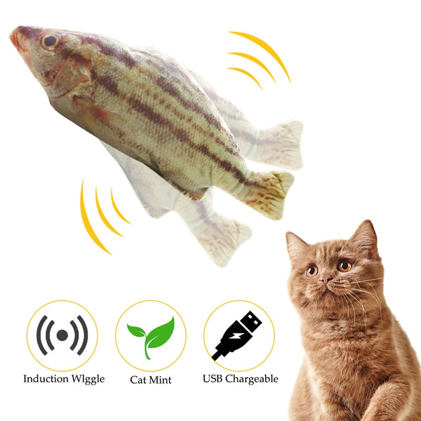 Pet Soft Electronic Fish Shape Cat Toy Electric USB Charging Simulation Fish Toys Funny Cat Chewing Playing Supplies Dropshiping