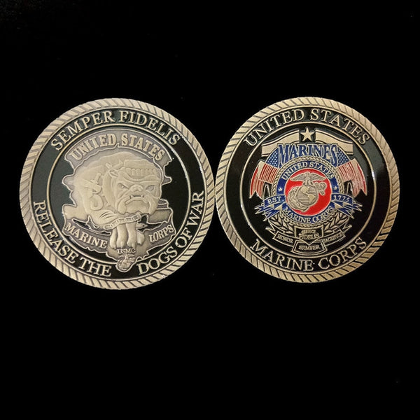 Commemorative  Dogs of War Non currency Art  Collection  Coin  US Marine Corps Plated  Craft Collectible  Decor  Gift