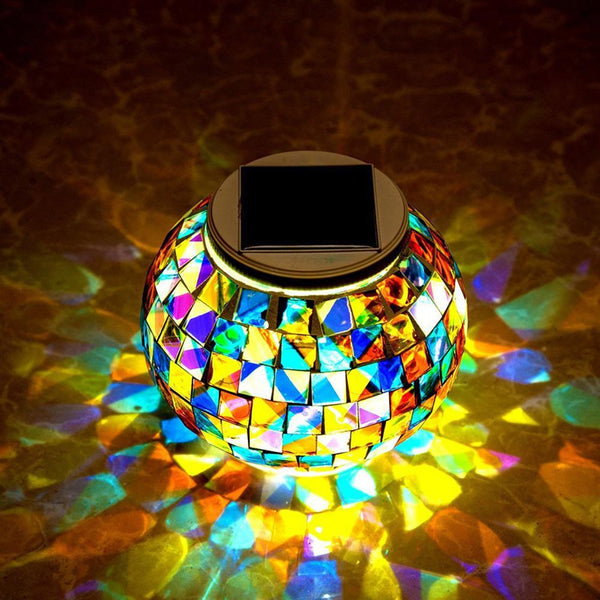 Color Changing Mosaic Glass Ball LED Solar Garden Lights Waterproof Solar Table Lights 2 Modes for Christmas Party Decoration