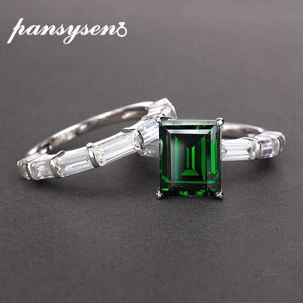 PANSYSEN Brand Real 925 Sterling Silver 8x10MM Emerald created moissanite Gemstone rings Wedding Anniversary Fine Jewelry Ring