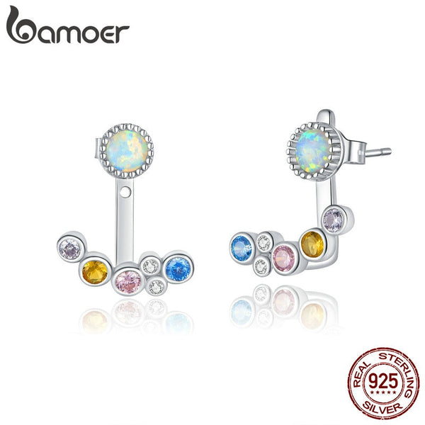bamoer Silver 925 Jewelry White Opal Joyería Colorful Bubble Ear Jacket Earrings for Women Hypoallergenic Wedding Jewelry BSE392