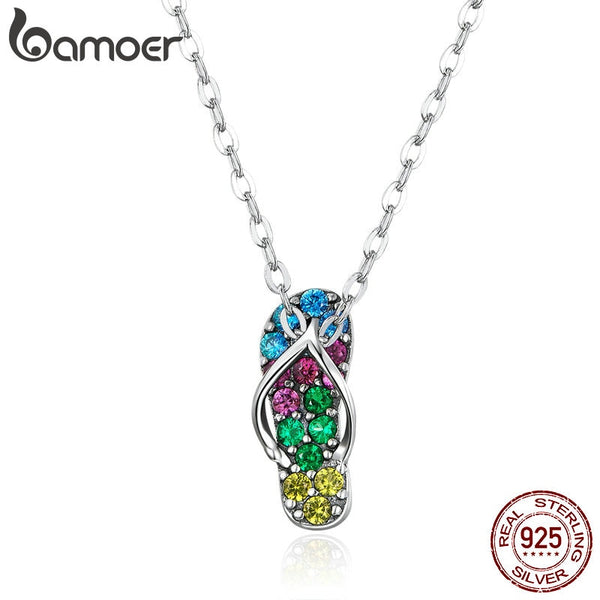 bamoer Summer Beach Flip Flop Pendant Necklace for Women 925 Sterling Silver Colorful CZ Jewelry Vacation Accessories SCN408