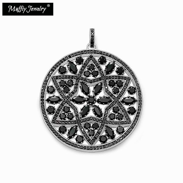 Black Pave Ornament Pendant,Thomas Style Muffiy Glam Good Jewelry For Women,Ts Classic Gift In 925 Sterling Silver Fit Bracelet